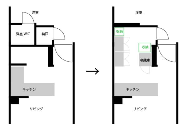 L型キッチンをI型にする問題点を解決